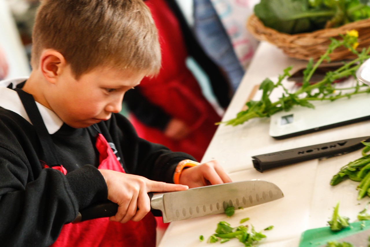 A student concentrating very hard while cutting food for a kitchen recipe